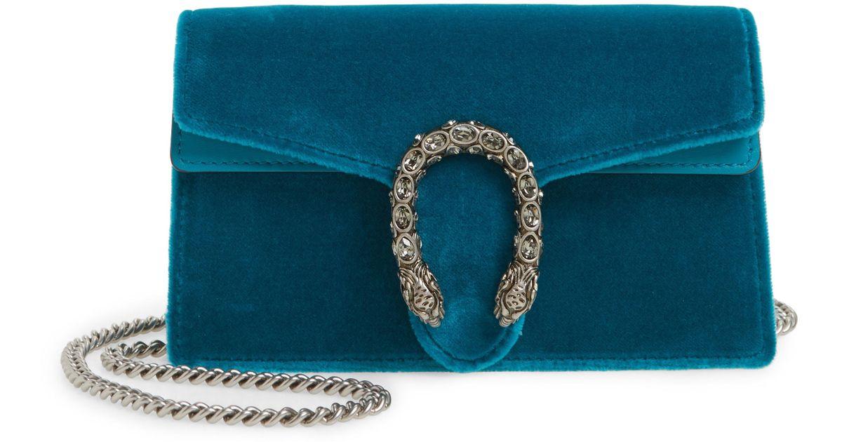 99cc240f23fe Lyst - Gucci Super Mini Dionysus Velvet Shoulder Bag - in Blue