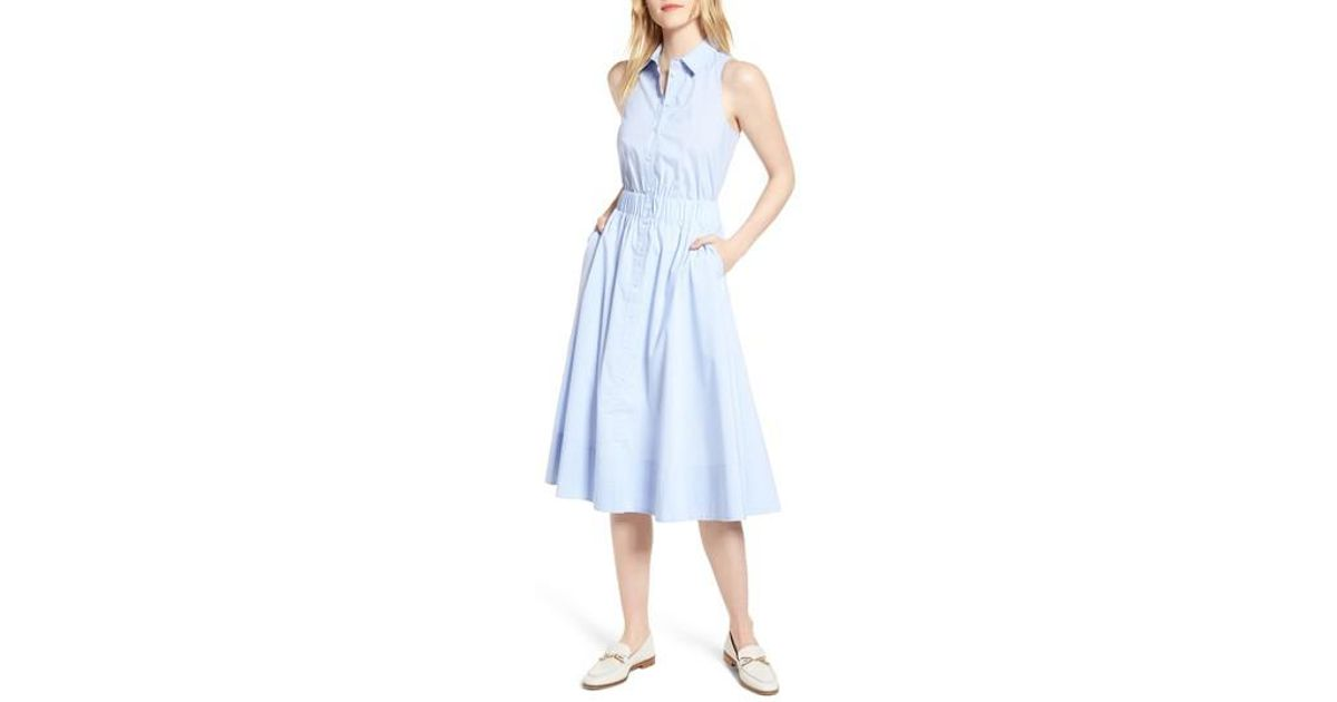 10712fb9fd10a Nordstrom 1901 Sleeveless Shirtdress in Blue - Lyst