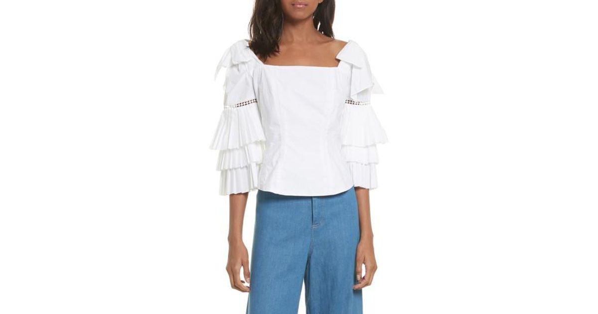e53d48501466 Lyst - Sea Antoinette Ruffle Sleeve Blouse in White