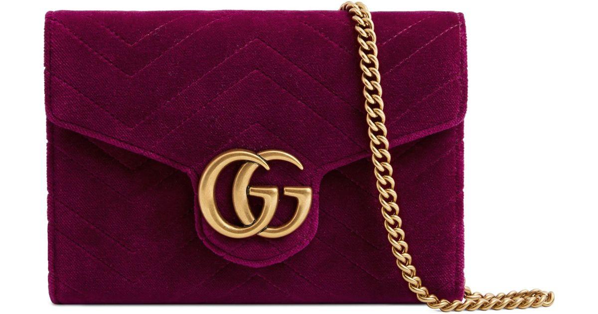 d2b08cdf7ea8 Gucci Gg Marmont 2.0 Matelassé Velvet Wallet On A Chain in Purple - Save  12% - Lyst