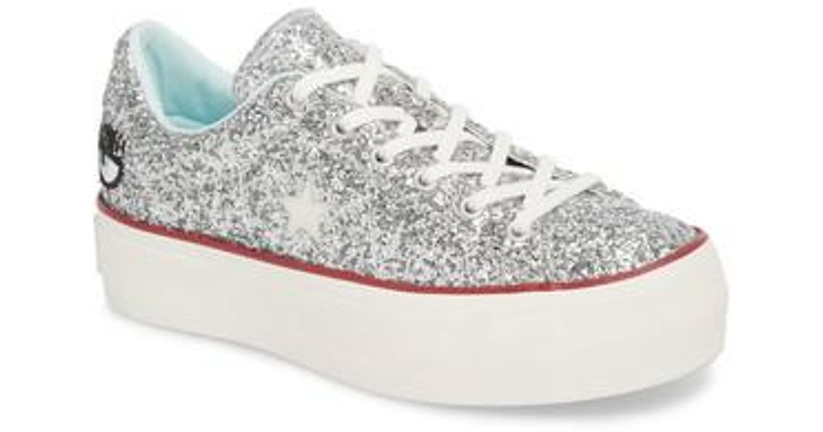 super quality super cheap detailed images Converse Metallic X Chiara Ferragni One Star Glitter Platform Sneaker