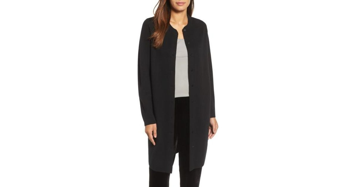 60b75883f55ce Lyst - Eileen Fisher Mandarin Collar Merino Wool Cardigan in Black