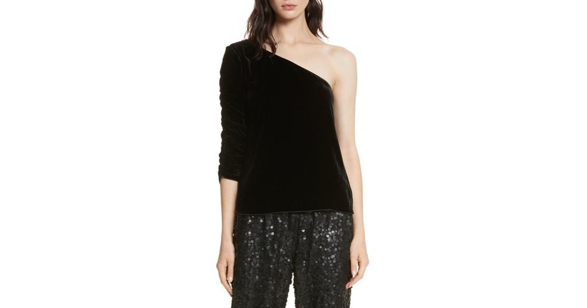 aa526898d964d Lyst - Joie One-shoulder Velvet Top in Black
