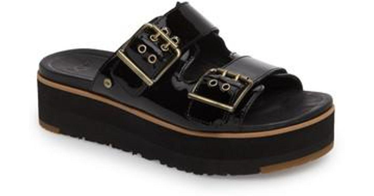 215630f2630 Ugg Black (r) Cammie Platform Slide Sandal (women)