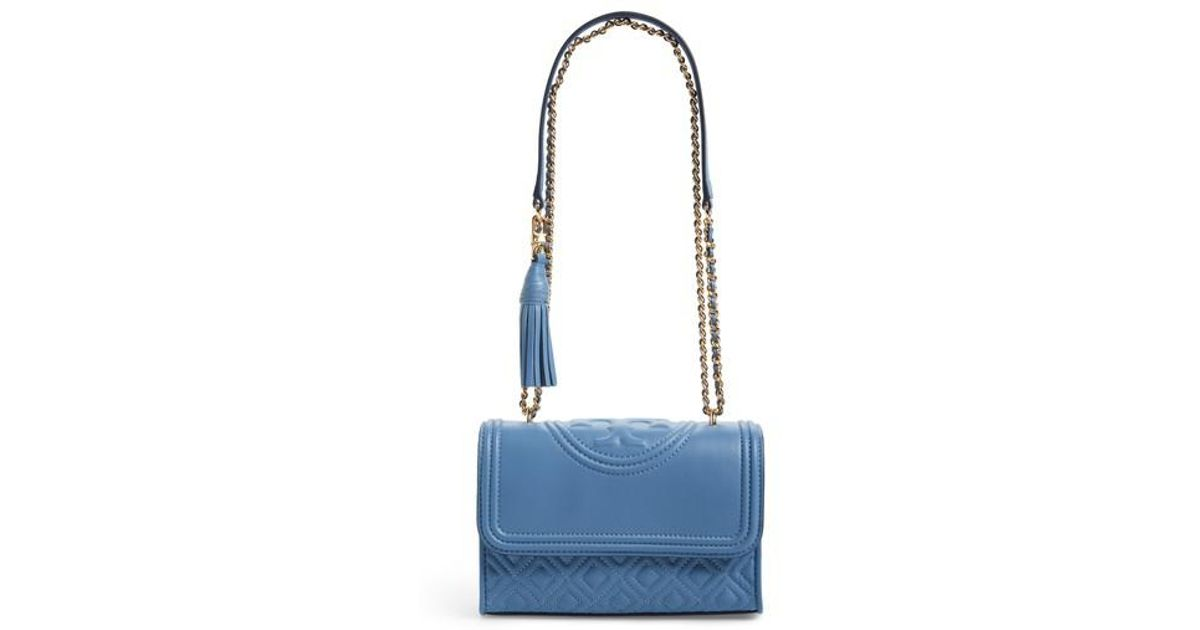 f56207717bb Lyst - Tory Burch Fleming Convertible Leather Shoulder Bag in Blue