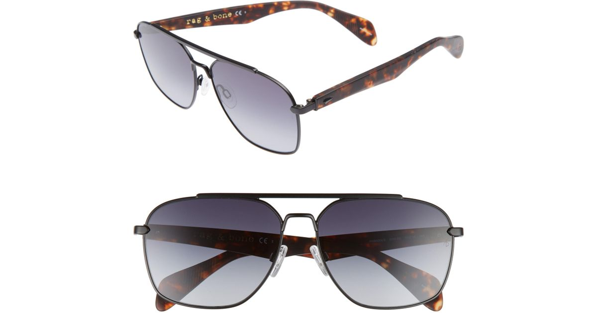 89161ddec5b Lyst - Rag   Bone 60mm Gradient Navigator Sunglasses - in Metallic for Men