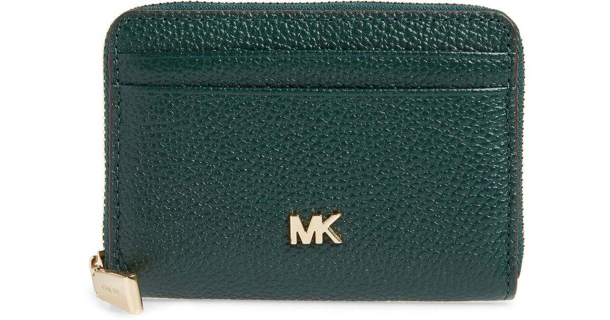 da0c3a000a63 Lyst - MICHAEL Michael Kors Money Piece Leather Zip Around Wallet in Green