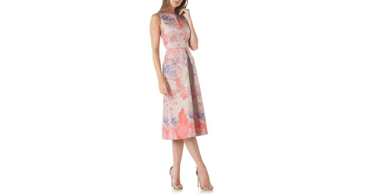 60db942918503 Kay Unger Floral Pleat Midi Dress in Pink - Lyst