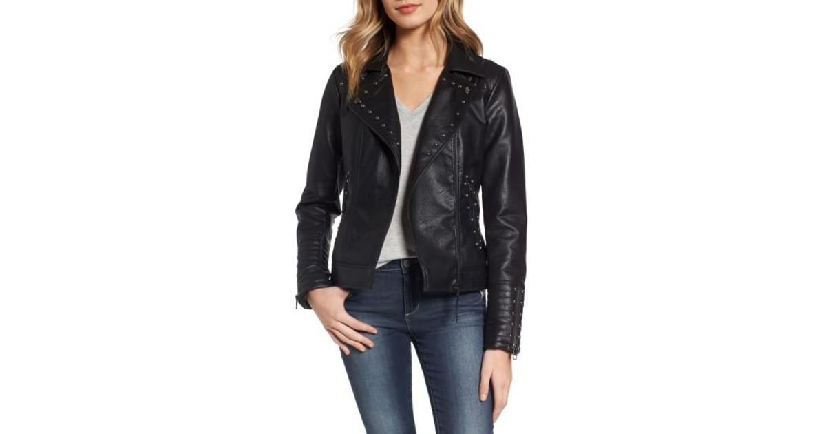 coupon code 100% high quality reasonable price Steve Madden Black Studded Faux Leather Biker Jacket