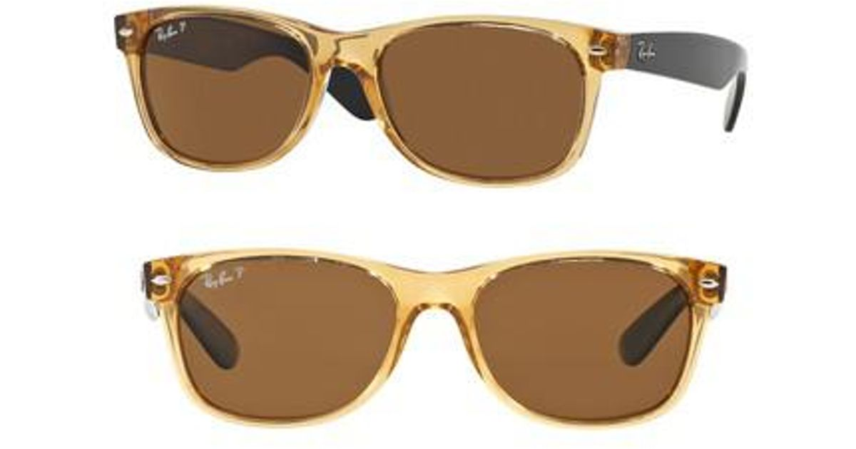 3014730c13 Lyst - Ray-Ban Standard New Wayfarer 55mm Polarized Sunglasses - Honey in  Brown