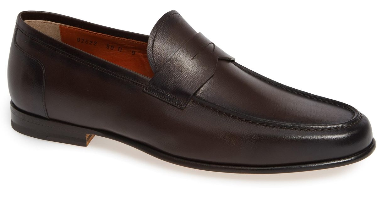 da76e585df4 Lyst - Santoni Denver Penny Loafer in Brown for Men