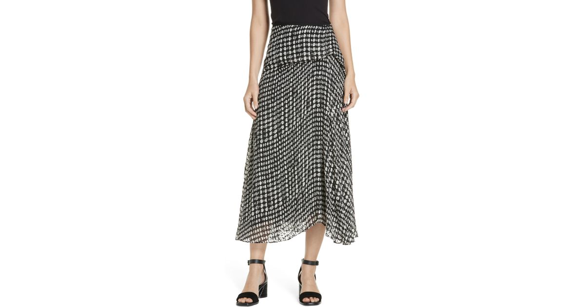 827ab5121a Theory Broken Oval Side Drape Midi Skirt in Black - Lyst