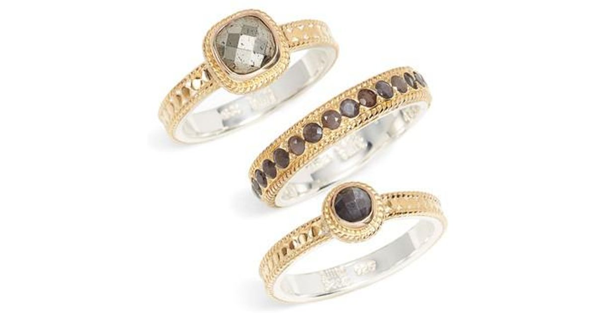 081d0241c Anna Beck Grey Sapphire & Pyrite Stack Rings in Metallic - Lyst