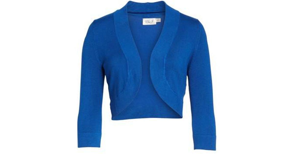 5df8ef3c719 Eliza J Open-Front Bolero Cardigan in Blue - Lyst