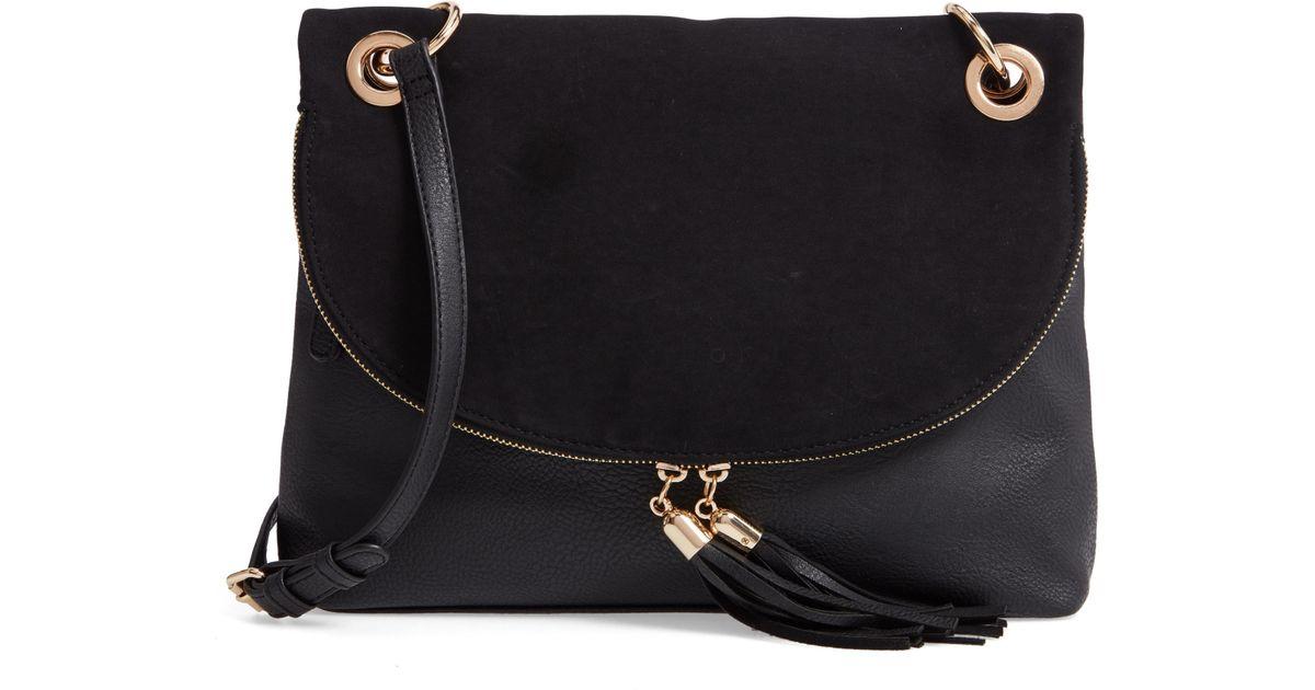 4c4a579b485cb Lyst - BP. Faux Leather Foldover Tassel Crossbody Bag in Black