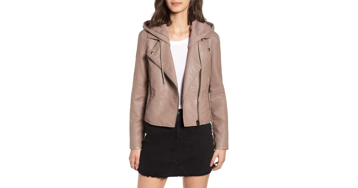 e6c3655196f Lyst - Blank NYC Meant To Be Moto Jacket With Removable Hood in Natural