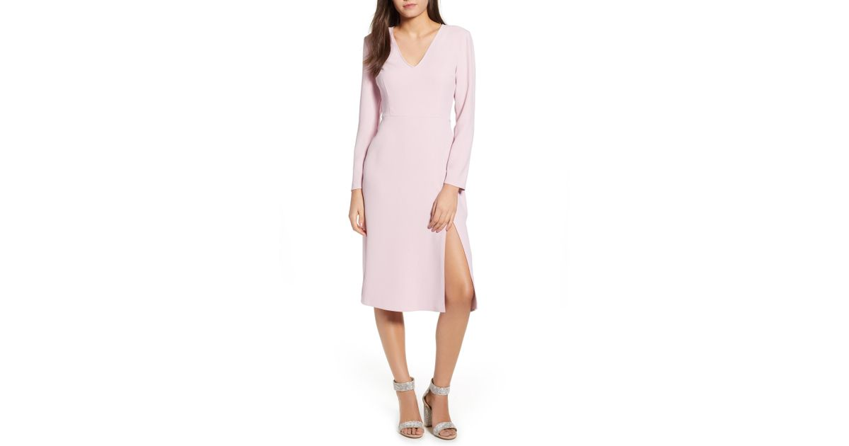ffccfd8375 Lyst - Leith Long Sleeve High Slit Midi Dress (regular   Plus Size) in Pink