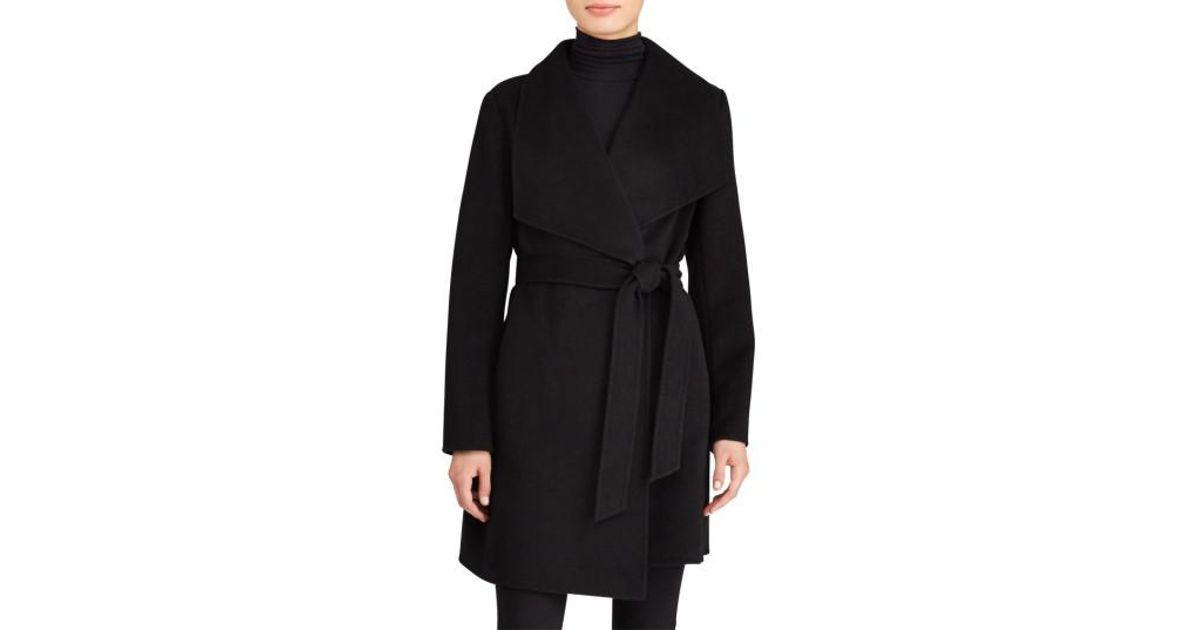 2c591ad6f1daa Lyst - Lauren by Ralph Lauren Double Face Wool Blend Wrap Coat in Black