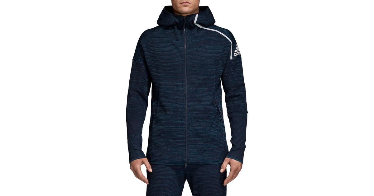 differently in stock san francisco Adidas Blue Zne Parley Primeknit Hoodie for men