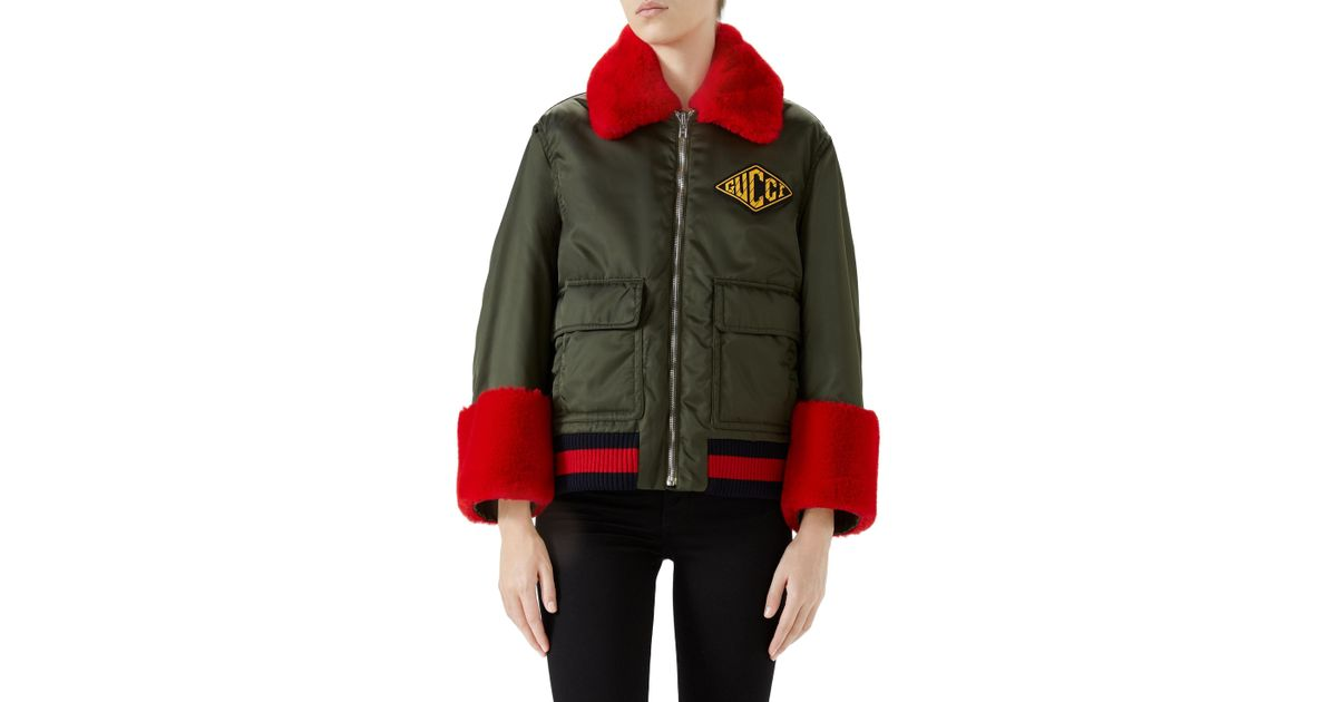 85dad84a9bb2 Lyst - Gucci Faux Fur-trimmed Bomber Jacket in Green