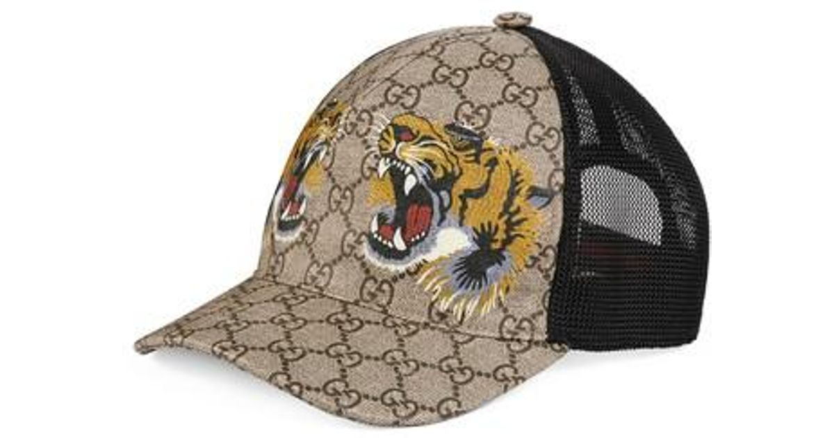 59fcd2b9aab95 Gucci Tiger Logo Print Baseball Cap - for Men - Lyst