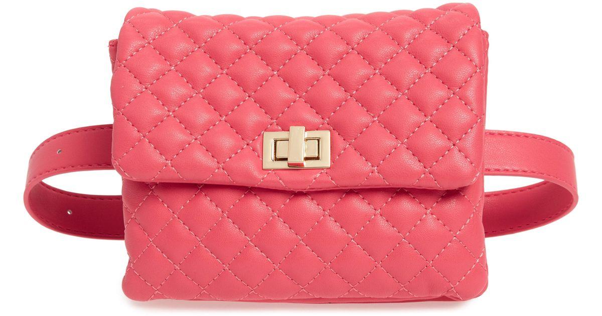 MALI AND LILI - Pink Mali + Lili Quilted Vegan Leather Belt Bag - Lyst 2f78f352f2401