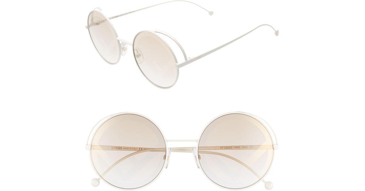 e2f72393b25e Lyst - Fendi 53mm Lenticular Round Sunglasses in White