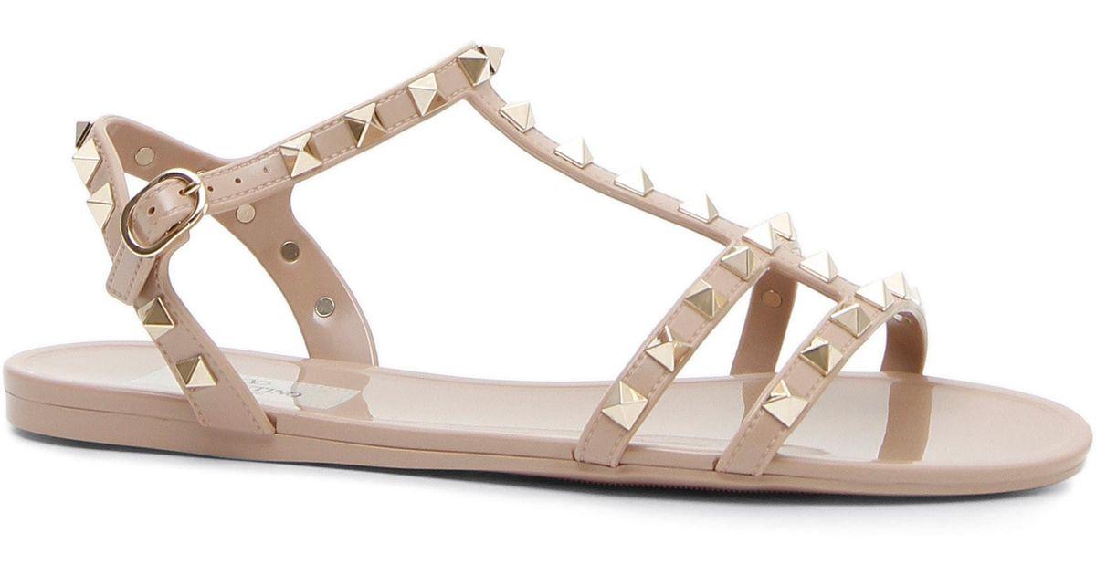 65ed92f5b04 Lyst - Valentino Rockstud T-strap Sandal