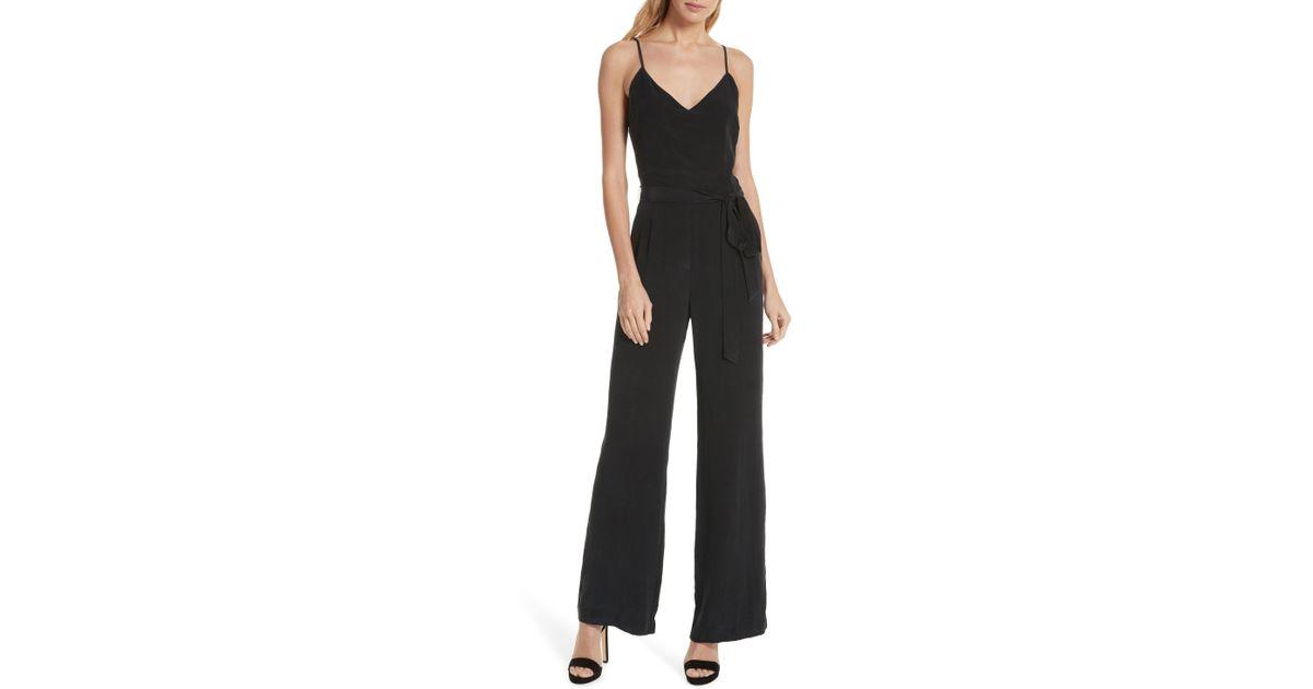 cdf3064a978 Lyst - L Agence Jackie Wide Leg Silk Jumpsuit in Black
