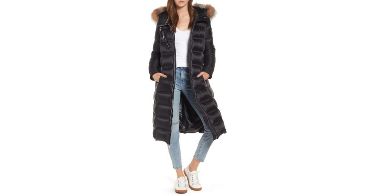 158774f2dca Andrew Marc Black Charlize 42 Hooded Water Resistant Down Coat With Genuine  Fox Fur Trim