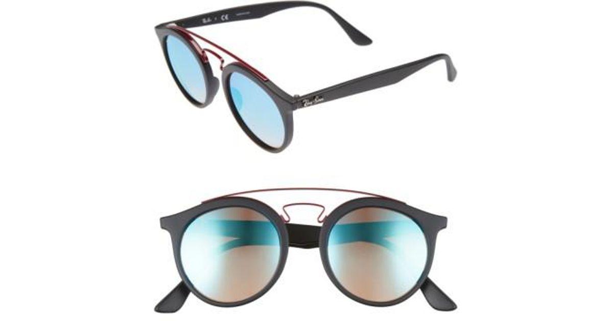 6d0e75e1d60d9 Lyst - Ray-Ban Highstreet 49mm Gatsby Round Sunglasses in Blue