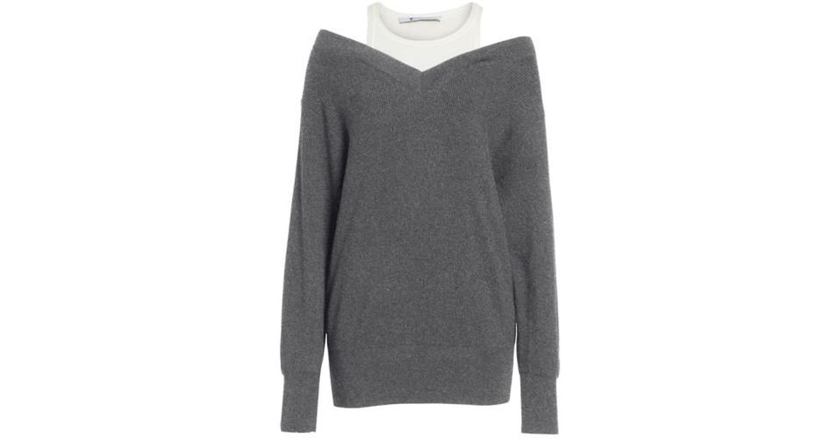 9a1f3ff99 Lyst - T By Alexander Wang Bi-layer Off-the-shoulder Sweater With ...