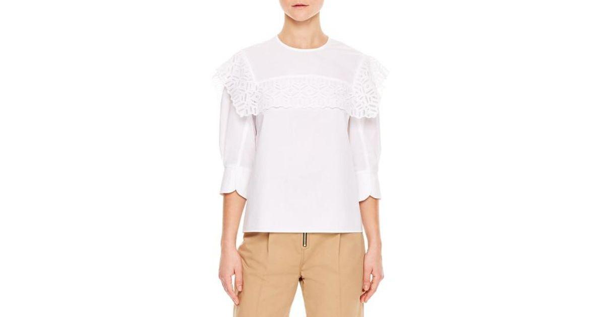 60c864559289b5 Lyst - Sandro Lace Popover Cotton Top in White
