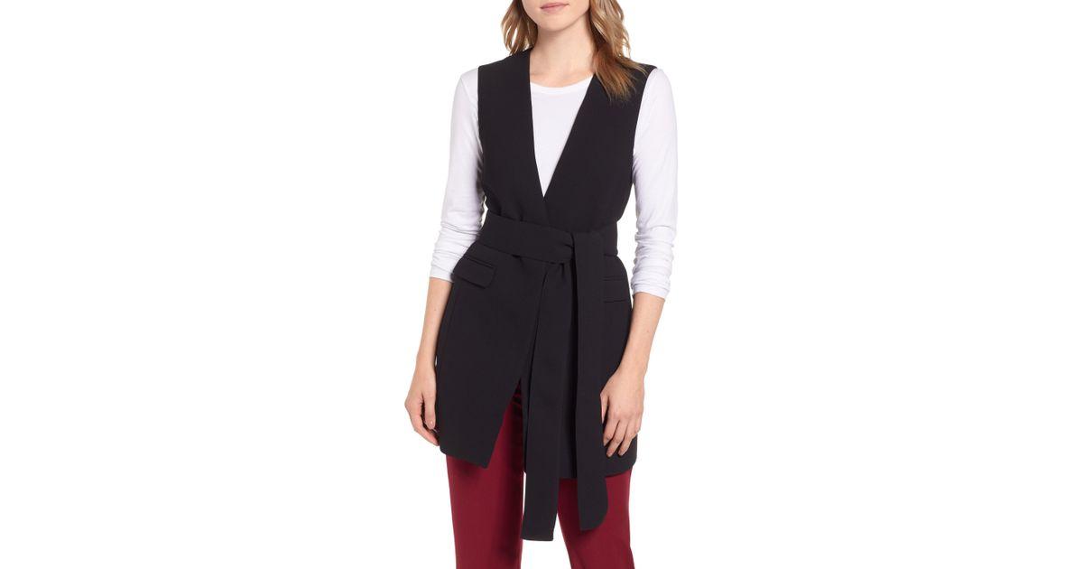 85d1e31d83fe7d Lyst - J.Crew Sleeveless Tie Waist Blazer in Black