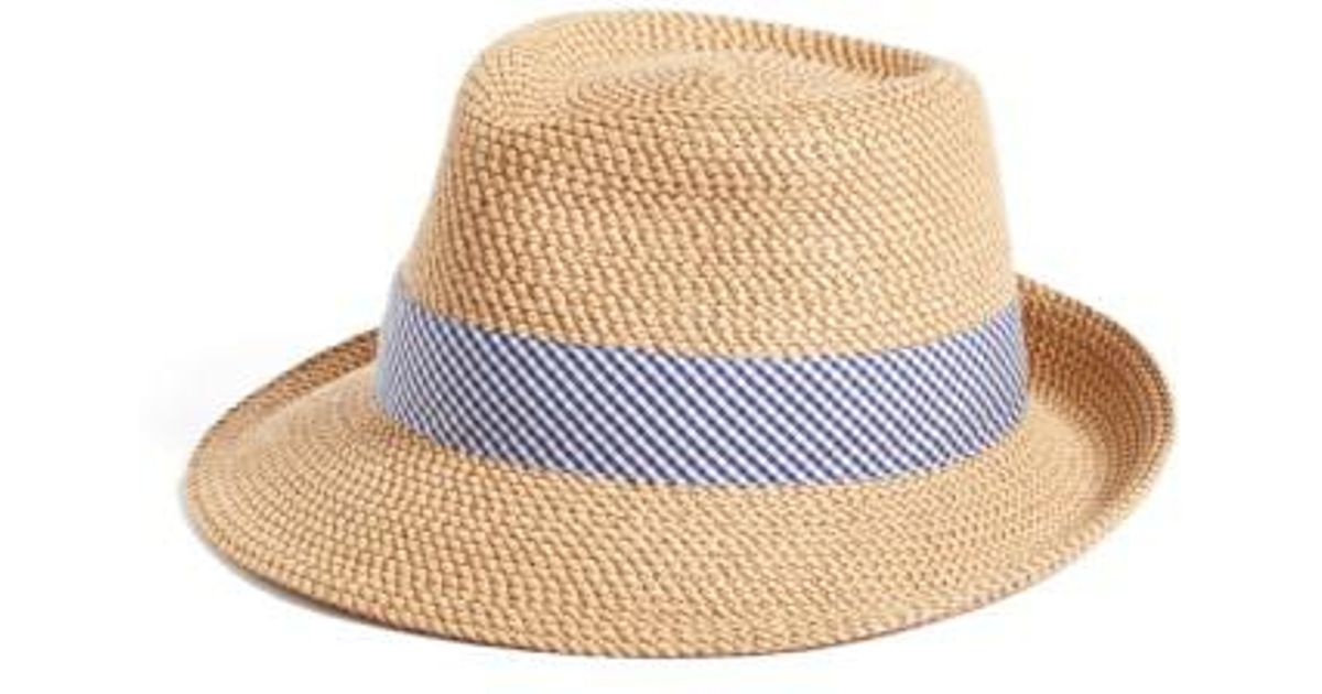 ae679777428 Lyst - Eric Javits  classic  Squishee Packable Fedora Sun Hat in Blue