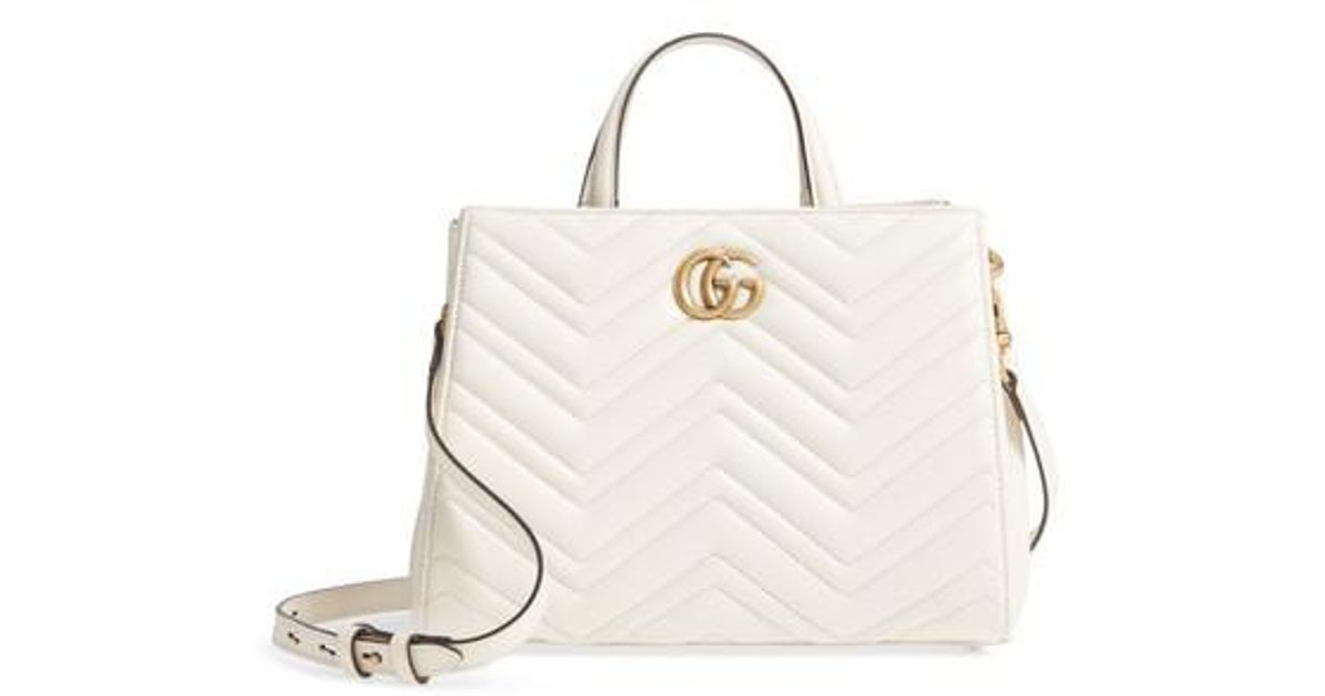 974c19568974 Gucci Gg Small Marmont 2.0 Matelasse Leather Top Handle Satchel in White -  Lyst