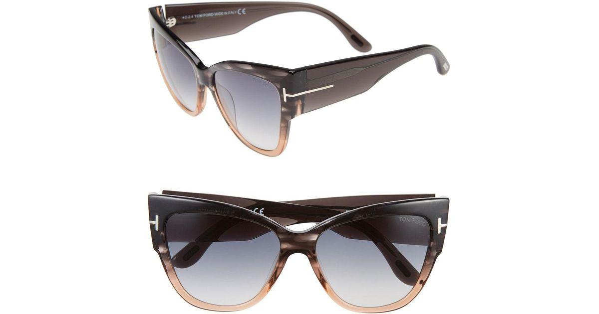72862878c5e Lyst - Tom Ford Anoushka 57mm Gradient Cat Eye Sunglasses in Gray
