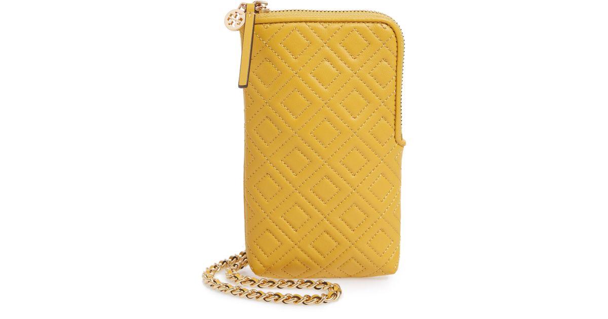 c30138f992b2 Lyst - Tory Burch Fleming Lambskin Leather Phone Crossbody Bag in Yellow