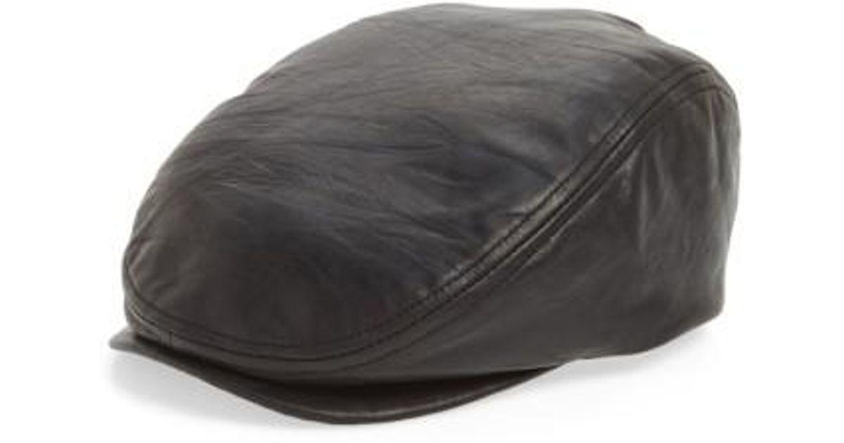 02a730ca3cb Lyst - Crown Cap Leather Driving Cap in Black for Men