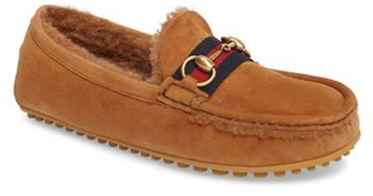 3dbb56024 Gucci Kanye Driving Shoe With Genuine Shearling in Brown for Men - Lyst