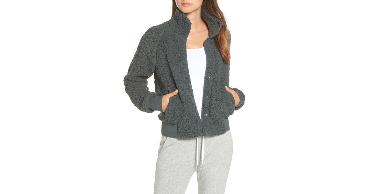 568d7db2eced Zella Cozy Up Bomber Jacket in Gray - Lyst