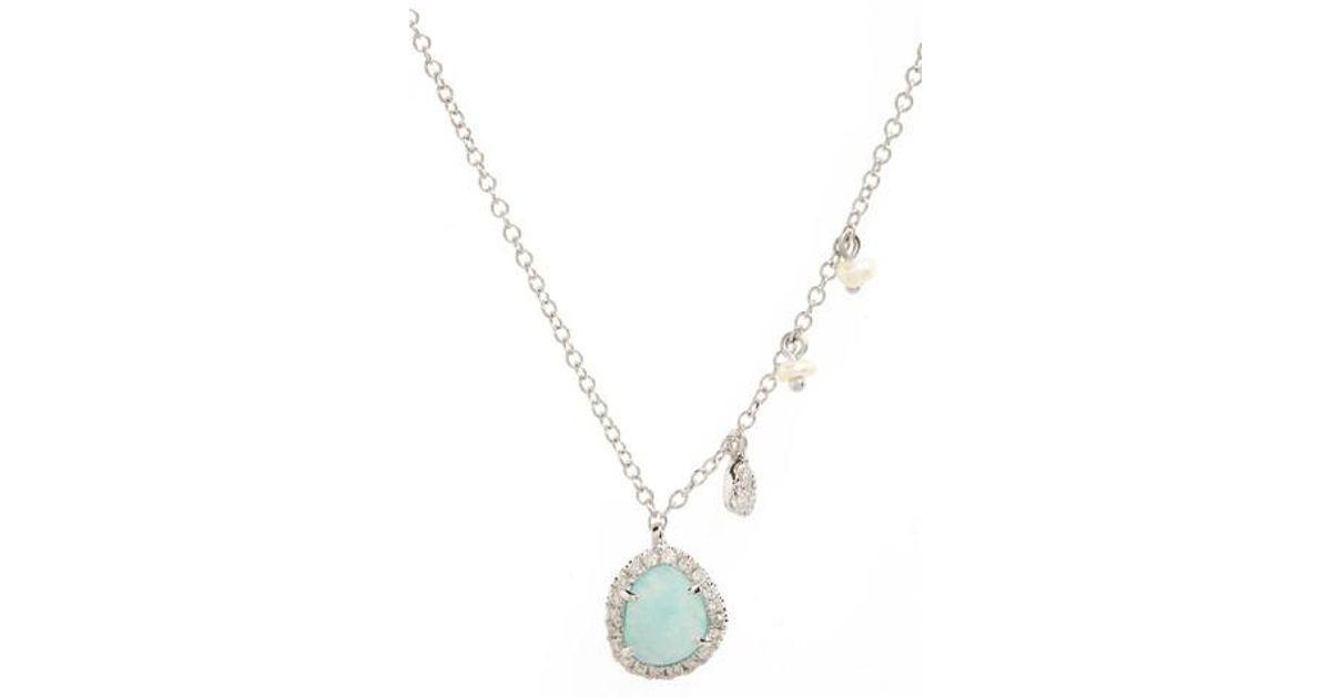 Lyst meira t meirat mini stone diamond pendant necklace in metallic aloadofball Images