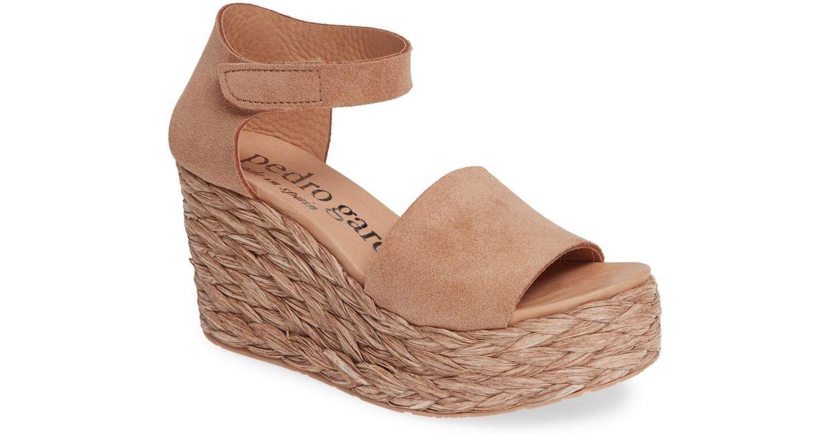 c1b8b264c6c Pedro Garcia Dory Raffia Wedge Sandal in Brown - Lyst