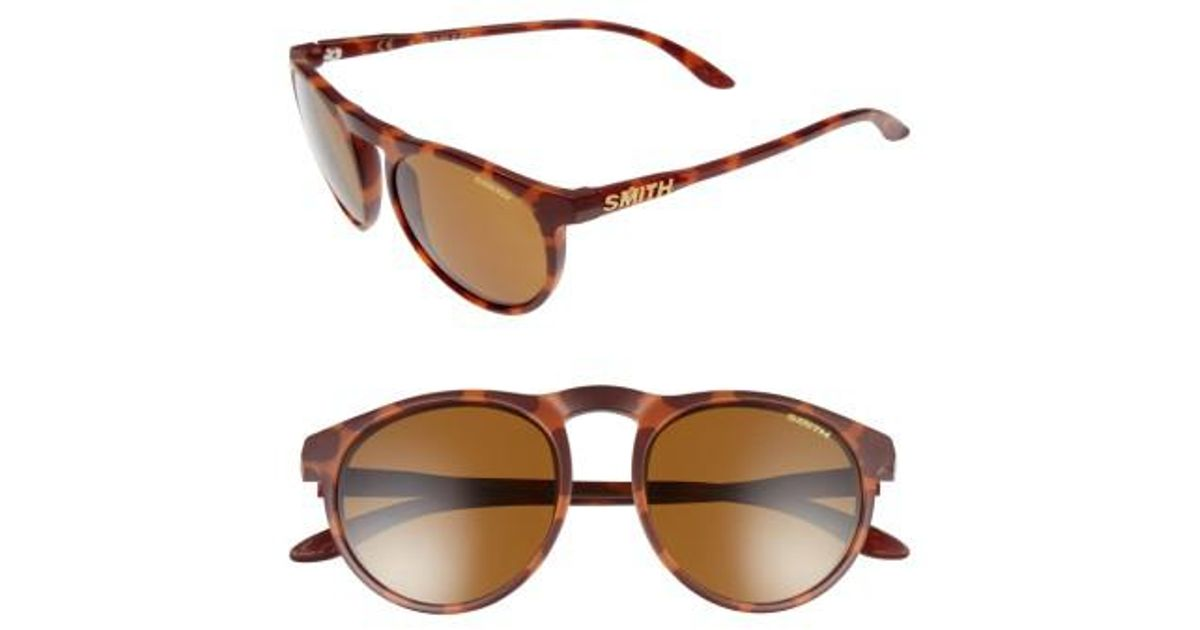 56b752f390dd Lyst - Smith Marvine 52mm Polarized Round Sunglasses in Brown