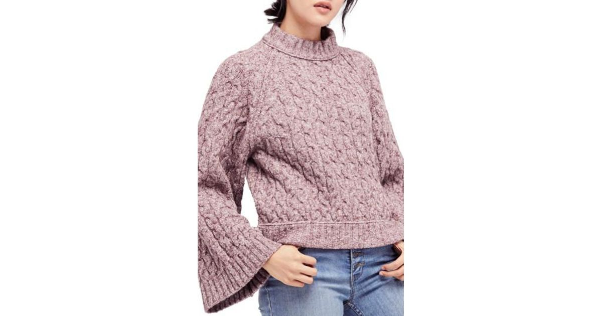 Free people Snow Bird Cable Knit Sweater in Purple | Lyst