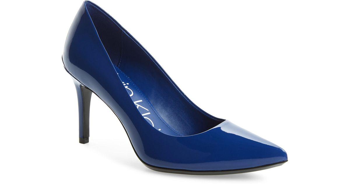 309dd8fa490 Lyst - Calvin Klein  gayle  Pointy Toe Pump in Blue
