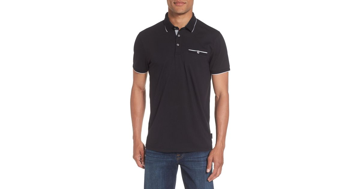 24bf97321 Lyst - Ted Baker Derry Modern Slim Fit Polo in Black for Men - Save 60%