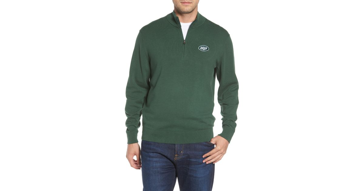 7a2e127be50 Lyst - Cutter   Buck New York Jets - Lakemont Regular Fit Quarter Zip  Sweater in Green for Men