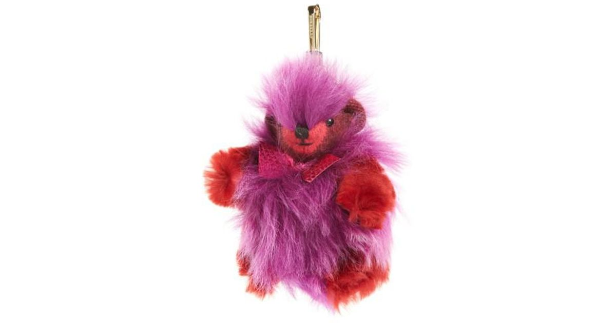 4395581d1aff Lyst - Burberry Thomas Bear Genuine Shearling   Cashmere Bag Charm in Pink