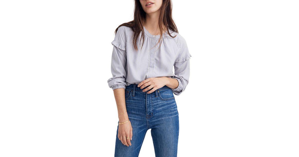 fba98ffcf5 Lyst - Madewell Stripe Collarless Ruffle Sleeve Shirt in Blue